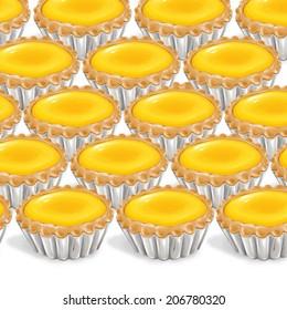 A illustration of hong kong style food egg tarts