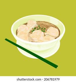 A illustration of Hong Kong style food wonton noodles