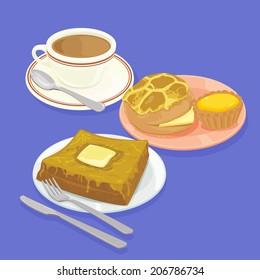 A illustration of Hong Kong style food set.Teatime ( Pineapple bun, egg tart, french toast, hot milk tea )