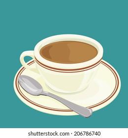 A illustration of Hong Kong style food hot milk tea