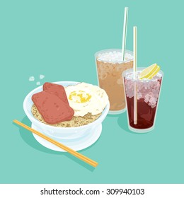 A illustration of Hong Kong style food set.Teatime ( Cold milk tea , Cold Lemon tea , egg with luncheon meat noodles )