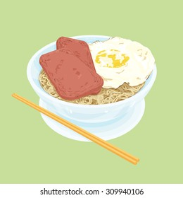 A illustration of Hong Kong style food set.Teatime ( Egg with luncheon meat noodles )