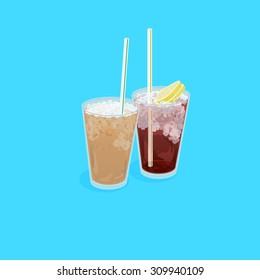A illustration of Hong Kong style food set.Teatime ( Cold milk tea , Cold Lemon tea )