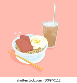 A illustration of Hong Kong style food set.Teatime ( Cold milk tea , egg with luncheon meat noodles )