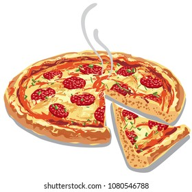 illustration of hot pizza salami with melted cheese