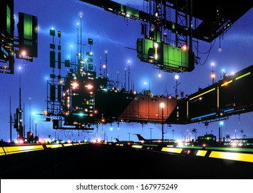 Illustration of a huge, floating, futuristic airport terminal building semi-blanketed in black shadows and adorned with masts, antennae and a multitude of colored lights with a night sky as backdrop.