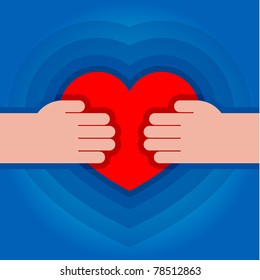 illustration of human hands with heart in it