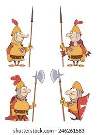 illustration of humor cartoon knights  set