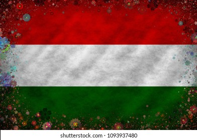 Illustration of a Hungarian flag with a frame of color blooms