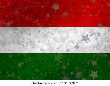 Illustration of a Hungarian flag with small stars scattered around
