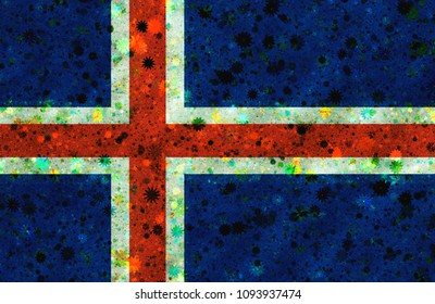 Illustration of an Icelandic flag with a blossom pattern