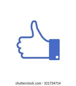 Illustration Icon of Blue Thumb Up, Isolated on White Background - raster