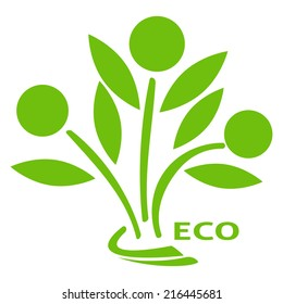 Illustration icon of three plants as symbols of people joined together in the ecology logo on white background