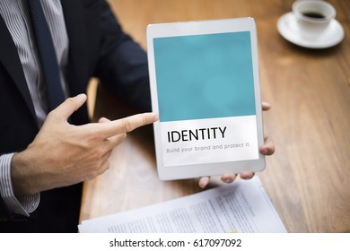 Illustration of identity branding business trademark on digital tablet