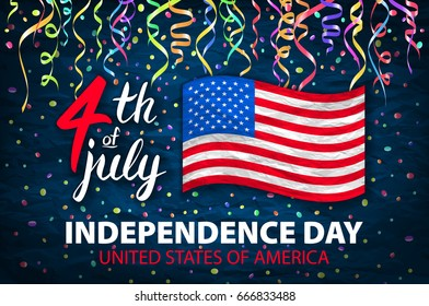 Illustration of Independence Day Poster. 4th of July Lettering. American Red Flag on Blue Background with Stars and Confetti