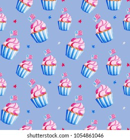 Illustration Independence of USA. Watercolor cupcake pattern for 4th of July. Design for holidays, print, banner.