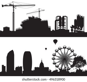 illustration of industry and City area. Raster version