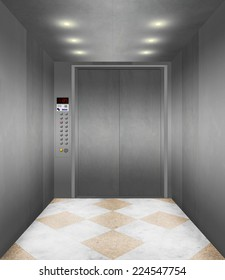 Illustration of the interior of an modern Elevator