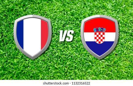 Illustration International flag Russia vs Croatia. Concept for Sport Match