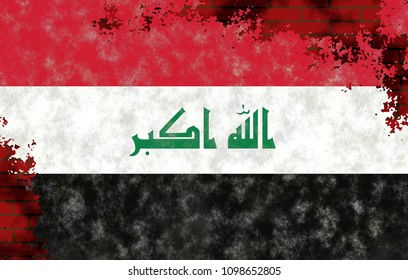 Illustration of an Iraqi Flag, imitation of painting on the old wall with cracks
