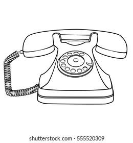 Illustration of Isolated Black and White Cartoon Retro Rotary Telephone. JPEG.