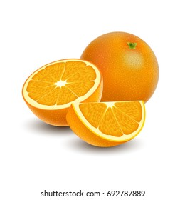 Illustration of Isolated colored group of orange, slice, half and whole juicy fruit with shadow on white background. Realistic citrus
