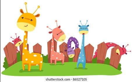 illustration of isolated cute giraffes on white background