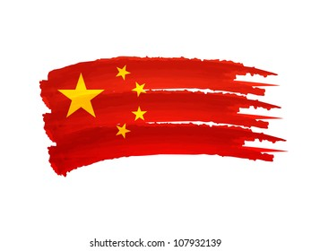 Illustration of Isolated hand drawn China flag