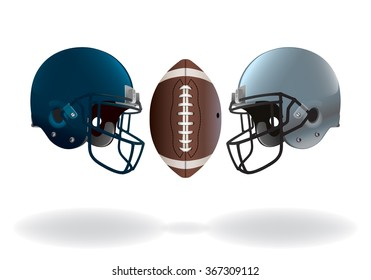 An illustration of isolated on white American football helmets and ball matching up for a championship.
