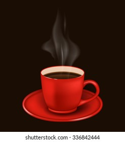 Illustration isolated realistic red coffee mug with vapor on black background -  raster