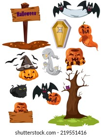 illustration of isolated  set of halloween on white