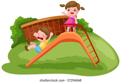 illustration of isolated two kids playing on the slide