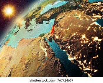 Illustration of Israel as seen from Earths orbit during sunset. 3D illustration. Elements of this image furnished by NASA.