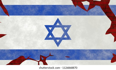 Illustration of an Israeli Flag, imitating of painting on the old wall with cracks