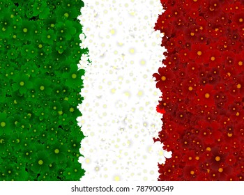 Illustration of an Italian Flag with a flowering pattern
