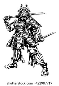 An illustration of a Japanese samurai warrior holding two swords