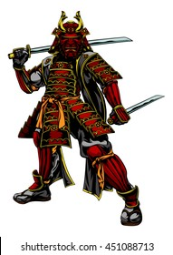 An illustration of a Japanese samurai warrior standing and holding two swords