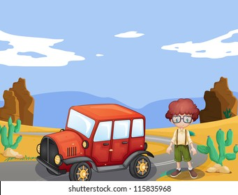 illustration of a jeep and boy in a nature
