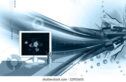 Illustration of jigsaws in a monitor