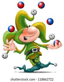 Illustration of a juggling cartoon jester