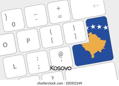 Illustration of a Keyboard with the Enter button being the Flag of Kosovo