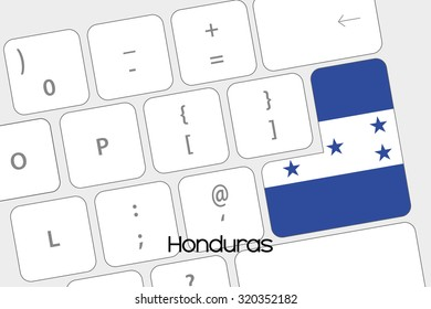 Illustration of a Keyboard with the Enter button being the Flag of Honduras