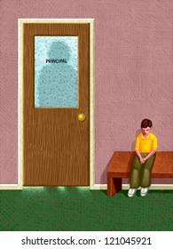 illustration of Kid Sitting Outside Principal's Office