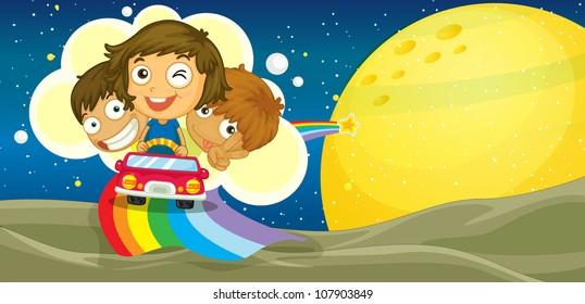 illustration of kids driving car on rainbow