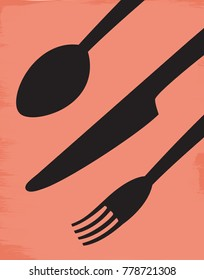 Illustration of a knife, fork, and spoon