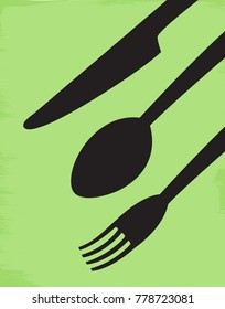Illustration of a knife, spoon, and fork on a green background