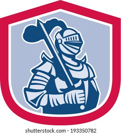 Illustration of knight in full armor brandishing a sword set inside a shield crest done in retro style.
