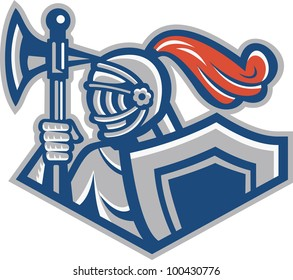 Illustration of a knight with spear ax and shield viewed from side done in retro style.