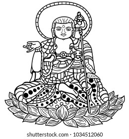 Illustration Of Korean Buddha Statue For Coloring