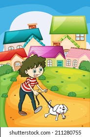 Illustration of a lady strolling with her white puppy